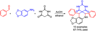 "Efficient one‐pot synthesis of novel 6′,9′‐dihydro‐2H,7′H‐spiro[pyrimidine‐5,8′‐[1,3]dioxolo[4,5‐f]quinoline]‐2,4,6(1H,3H)‐trione derivatives under mild and ""green"" reaction conditions"