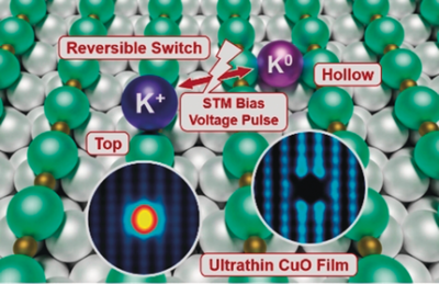 Reversibly Switching the Charge State and Adsorption Location of A Single Potassium Atom on Ultrathin CuO Films