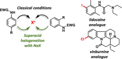 Complementary Site‐Selective Halogenation of Nitrogen‐Containing (Hetero)Aromatics with Superacids