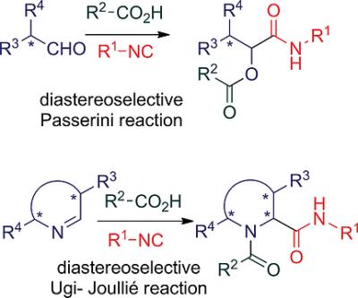 Diastereoselectivity in Passerini Reactions of Chiral Aldehydes and in Ugi Reactions of Chiral Cyclic Imines
