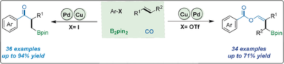 Four‐Component Borocarbonylation of Vinylarenes Enabled by Cooperative Cu/Pd Catalysis: Access to β‐Boryl Ketones and β‐Boryl Vinyl Esters