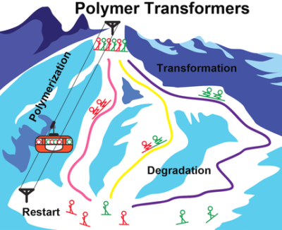 Polymer Transformers: Interdigitating Reaction Networks of Fueled Monomer Species to Reconfigure Functional Polymer States