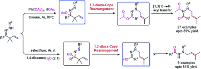 PhI(OAc)2‐Promoted 1,2‐Diaza‐Cope Rearrangement of β,γ‐Unsaturated Hydrazones with Acetate/H2O: Access to Diacyl/Acyl N‐Allylhydrazines