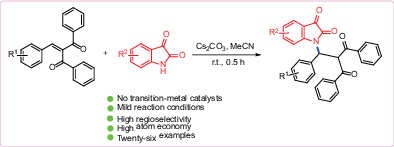 Regioselective aza‐Michael additions of 2‐arylidene‐1,3‐diphenylpropan‐1,3‐diones with isatins: Synthesis of N‐diketone‐functionalized isatins