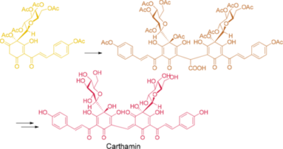 Biomimetic synthesis of carthamin, a red pigment in safflower petals, via oxidative decarboxylation