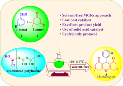An expedient and straightforward solvent‐free synthesis of 1,8‐dioxo‐octahydroxanthenes using eco‐friendly aluminized polyborate catalyst