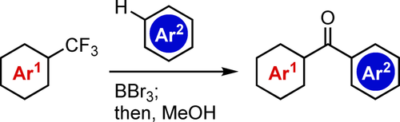 Synthesis of Diverse Aromatic Ketones through C−F Cleavage of Trifluoromethyl Group