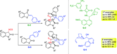 Stereo‐ and Regioselective Construction of Spirooxindoles Having Continuous Spiral Rings via Asymmetric [3+2] Cyclization of 3‐Isothiocyanato Oxindoles with Thioaurone Derivatives