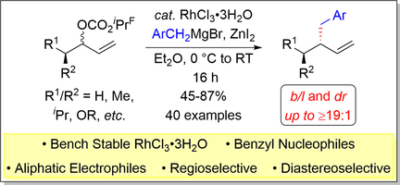 Regio‐ and Diastereoselective Rhodium‐Catalyzed Allylic Substitution with Unstabilized Benzyl Nucleophiles