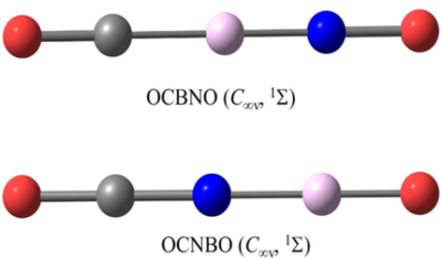 Generation and Identification of the Linear OCBNO and OBNCO Molecules with 24 Valence Electrons