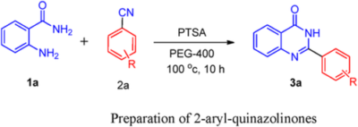 Brønsted acid catalyzed synthesis of 2-aryl-quinazolinones via cyclization of 2-aminobenzamide with benzonitriles in PEG