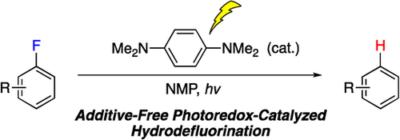 Metal-Free Photoredox-Catalyzed Hydrodefluorination of Fluoroarenes Utilizing Amide Solvent as Reductant