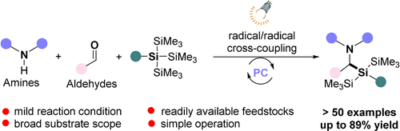 Direct Access to α-Aminosilanes Enabled by Visible-Light-Mediated Multicomponent Radical Cross-Coupling