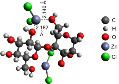 Interactions of Cellulose Model Compound D-Cellobiose with Selected Metal Chlorides in Water: Identification of Chelating Oxygen Atoms