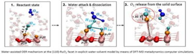 Water-Assisted Chemical Route Towards the Oxygen Evolution Reaction at the Hydrated (110) Ruthenium Oxide Surface: Heterogeneous Catalysis via DFT-MD and Metadynamics Simulations